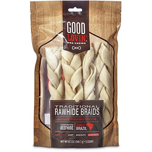 Good Lovin' Traditional Rawhide Braid Dog Chews, 12.3 (Brazil Braid)