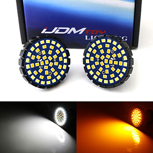 iJDMTOY 2-Inch White/Amber Switchback LED Front Turn Signal Light Bulbs For Harley Davidson, Full Can-bus No Hyper Flash No Resistor Required Replacements