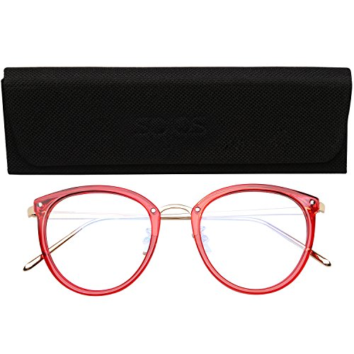 SojoS Round Women Eyeglasses Fashion Eyewear Optical Frame Clear Glasses SJ5969 With Red Frame/Gold Temple