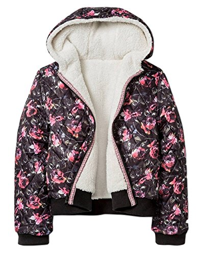 (Xhilaration Girls' Quilted Reversible Sherpa Floral Printed Coat Jacket, Black/Pink, Small)