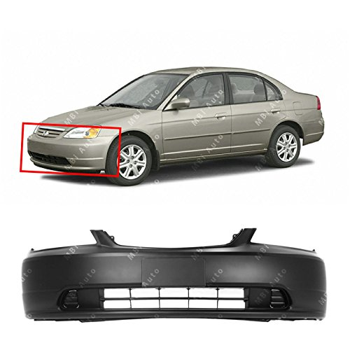 MBI AUTO - Primered, Front Bumper Cover for 2001 2002 2003 Honda Civic, HO1000197 ()