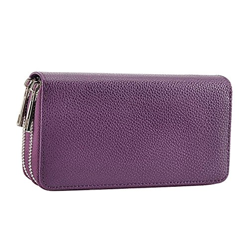 - Double Zipper Wallet Handbag Purse Card Case Money Organizer for Phone, Purple
