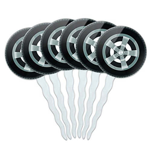 Set of 6 Cupcake Picks Toppers Decoration Automotive Racing Number - Tire