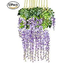 12 Pack 1 Piece 3.6 Feet Artificial Fake Wisteria Vine Ratta Hanging Garland Silk Flowers String Home Party Wedding Decor (Purple 2)