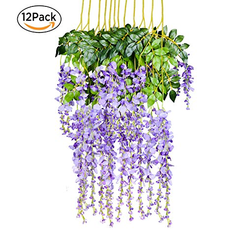 12 Pack 1 Piece 3.6 Feet Artificial Fake Wisteria Vine Ratta Hanging Garland Silk Flowers String Home Party Wedding Decor (Purple (Big Vine)