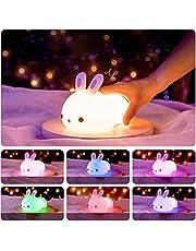 Yafido Dimbaar led-nachtlampje voor kinderen, konijntje, nachtlampje van silicone met USB-oplaadbare touch-lamp voor kinderkamer, slaapkamer, hal