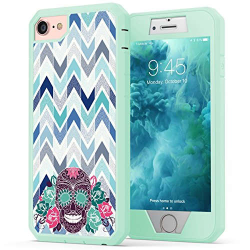 (True Color Case Compatible with iPhone 7 Chevron Case, Suger Skull on Chevron Heavy Duty Hybrid + 9H Tempered Glass 360° Protection [True Armor Series] -)