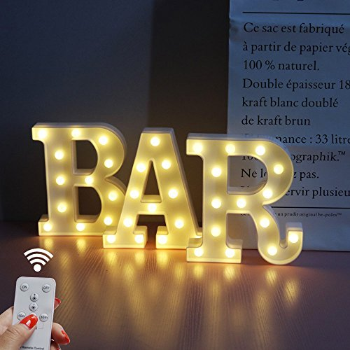BAR - Illuminated Marquee Bar Sign - Lighted LED Marquee Word Sign - Pre-Lit Pub Bar Sign Light Battery Operated (23.03-in x (Pre Lit Wall)