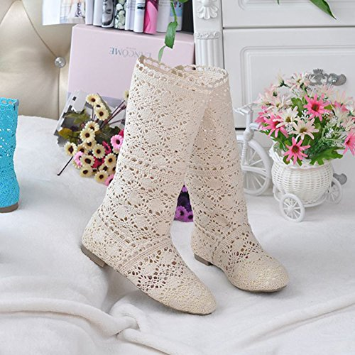 Cheyuan Elegant Breathable Gladiator Embroidery Womens Summer Boots Flat Shoes Slip-On Shoes Fashion Mesh High Knee Boots Beige kq6b8DQtR5