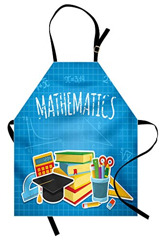 Lunarable Mathematics Classroom Apron, Education Science Concept School and College Supplies Set Books Cap, Unisex Kitchen Bib Apron with Adjustable Neck for Cooking Baking Gardening, Multicolor by Lunarable (Image #3)