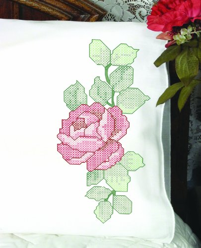 83216 Cross Stitch Perle Edge Pillowcases, Large Rose Design, Standard, White ()