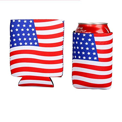 Excursion Tank - Excursion Home Can Sleeves - 2PCS American Flag Style Beer Coolies for Cans and Bottles - Bulk Blank Drink Coolers - DIY Custom Wedding Favor, Funny Party Gift (Blue)