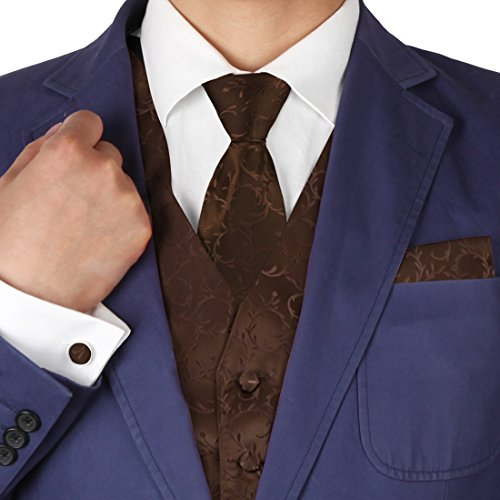 Brown Paisley Formal Vest for Men Patterned for Mens Gift Idea with Neck Tie, Cufflinks, Handkerchief, Bow Tie for Suit Vs1013-L Large ()