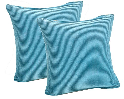 (Pack of 2 Throw Pillow Covers (in 8 Colors and 7 Sizes) Comfortable Soft Corduroy Corn Striped Pillow Case (14