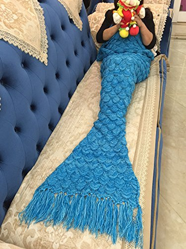 """Handmade Mermaid Tail Blanket Crochet , Ibaby888 All Seasons Warm Knitted Bed Blanket Sofa Quilt Living Room Sleeping Bag for Kids and Adults (72.8""""x35.5"""", Fish-scales Tasseled Sea Blue)"""