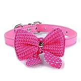 Pet collar,Pikolai Knit Bowknot Adjustable PU Leather Dog Puppy Pet Collars Necklace 1.5cm37cm (Hot Pink)