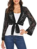 Women's Tie Front Long Sleeve Black Lace Shrug Cardigan Bolero Jacket Shrug Cardigan Plus Size(Black,XXL)
