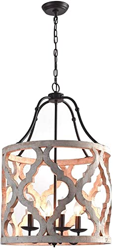 Jiuzhuo Vintage Distressed White Carved Wood 4-Light Lantern Farmhouse Chandelier Lighting Hanging Ceiling Fixture