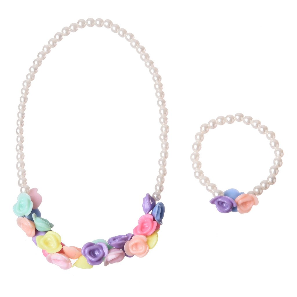 Jiayiqi Colorful Beads Stretch Necklace and Bracelet Set for Little Girls Kids WG5105#AJCA
