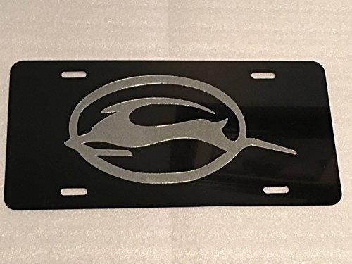 Impala 2 Logo Car Tag Diamond Etched on Black Aluminum License Plate