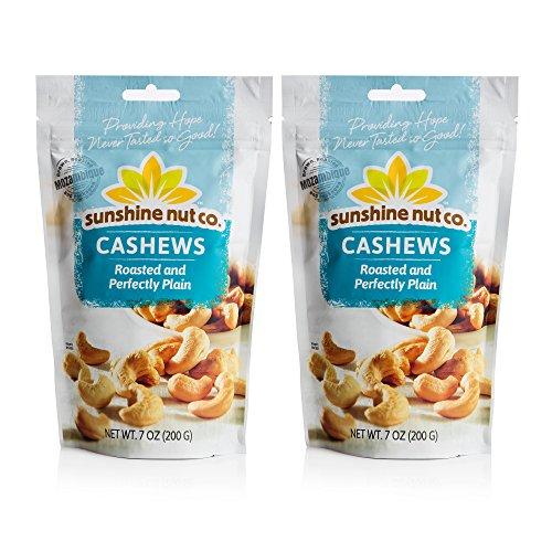 Sunshine Nut Company Perfectly Plain Cashews, Peanut Free, Gluten Free, GMO Free, 7 oz, Pack of 2
