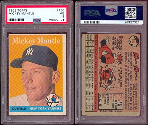 1958 Topps Regular Baseball Card 150 Mickey Mantle Psa