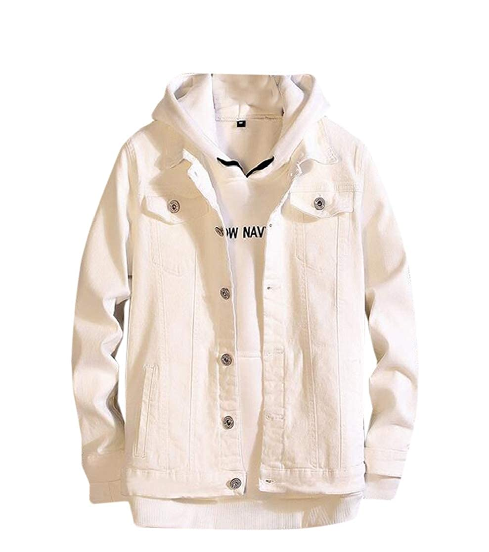 073bef31d12 White KLJR KLJR KLJR Men Washed Boyfriend Solid color Long Sleeve Denim  Loose Jacket 67d682