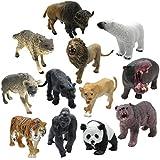 12 Piece Wildlife Animals Action Figure,Realistic Animals Action Model