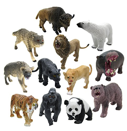 12 Piece Wildlife Animals Action Figure,Realistic Animals Action (Dslr Models)