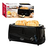Quest 35060 4-Slice Twin Extra Wide Long Slot Plastic Toaster, 1400 W, Black
