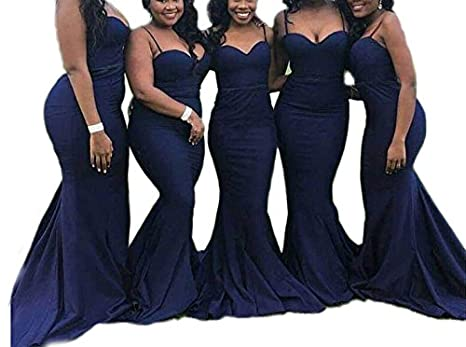 DreHouse Womens Spaghetti Straps Mermaid Bridesmaid Dresses Navy Blue Prom Dress