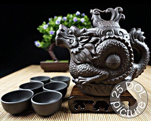 Dragon Teapot - Dragon Tea Set 8 Pieces made with Premium Quality Chinese Yixing Purple Clay - Teapot (400ml - 14Oz) + Lid + 6 Cups - The