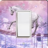 Rikki Knight 8824 Single Rocker White Unicorn On Bridge Pink Background Design Light Switch Plate