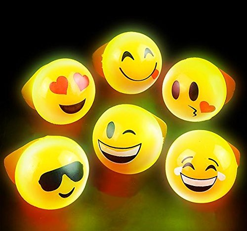Flashing Rings Emoji Icons, LED Emoticon Light Up Rings Pack of 24 - Novelty & Gag Toys, Party Favor, Bag Stuffer, Giveaway, Gifts- By Kidsco Icon Ringer