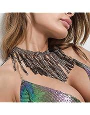 Sethain Boho Strass Ketting Zilveren Kwastje Ketting Kristal Choker Ketting Nachtclub Body Accessoires Sieraden voor Vrouwen en Meisjes