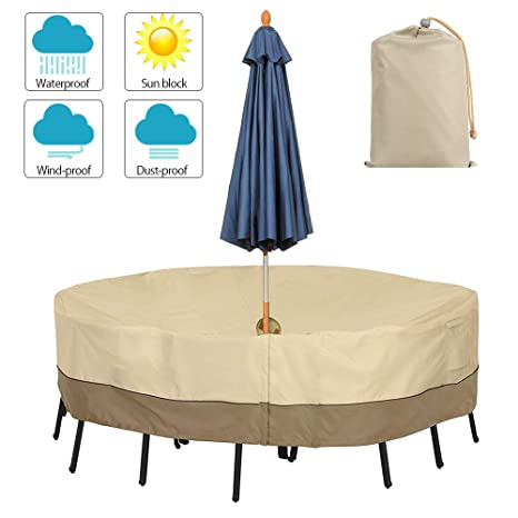 Garden Furniture Cover Patio Table Chairs Protector Slipcover With Umbrella Hole