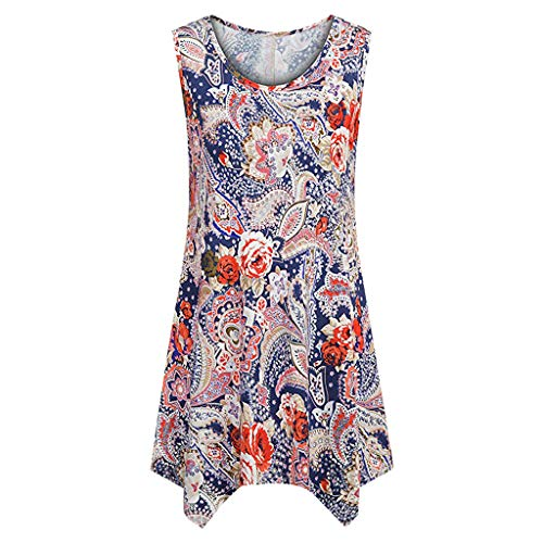 Casual Tank Top for Women St.Dona Women's Sleeveless O-Neck Swing Tunic Summer Floral Flare Loose Dressy Blouses T-Shirt Red