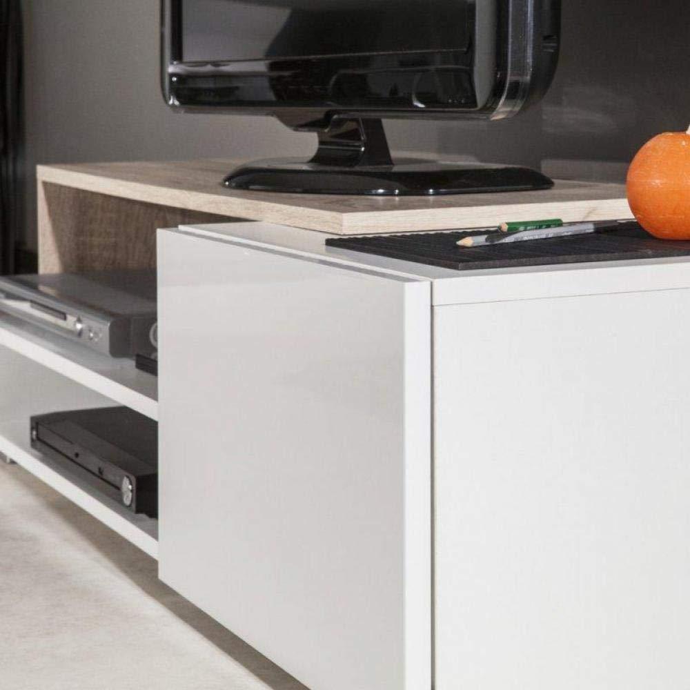 Inside Pacific Mueble TV Color Blanco Lacado Brillante y ...