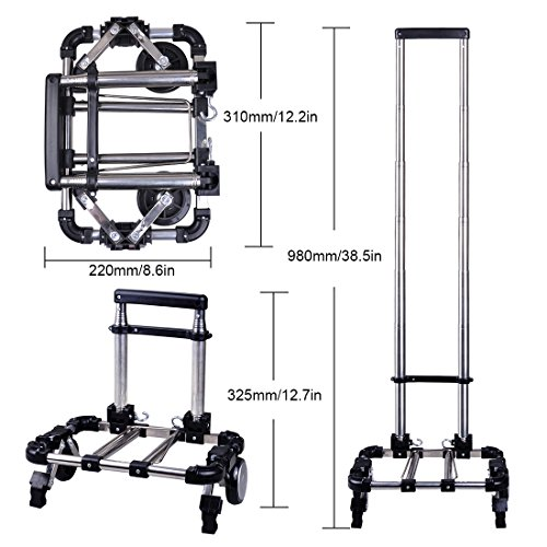 Congerate Heavy Duty And Durable Portable Folding Telescopic Handle Shopping Cart Push And Haul Trolley Airport Luggage Aluminum Alloy Household Supermarket Cart With 66 lbs/30KG Capacity (Black)