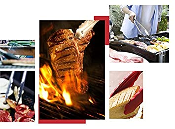 Red 3Pcs 7//9//12inch High Temperature Anti-hot Kitchen Tongs Stainless Steel Utensils with Silicone Tips For BBQ Grill Oven Baking Salad Steak Vegetable Pasta Fish