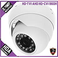 2.4MP 1080p 4-in-1 AHD/HD-TVI/CVI/960H Eyeball IR Dome Camera: White, 2.8mm, 15m Infrared, 12v DC, IP66, OSD, CoC, 3yr