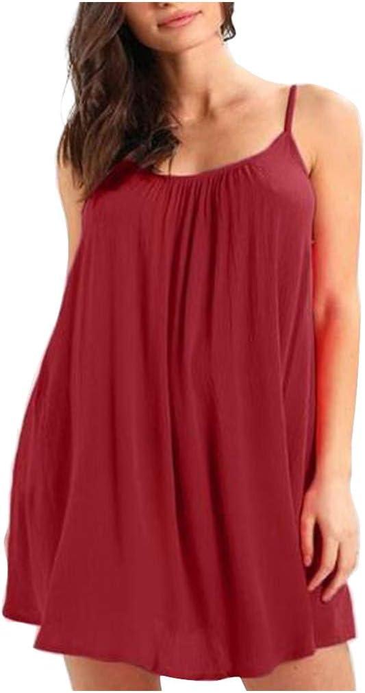 Voicry Mode Frauen Solid Camis Ärmelloses O-Neck Bandage Casual Minikleid: Odzież