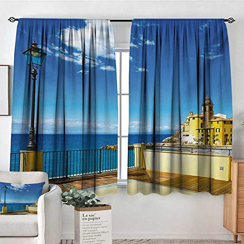 Mozenou Italian Room Darkening Curtains Camogli Building Sea Lamp and Balcony Tourist Spot in Ligury Italy Print Decor Curtains by 72