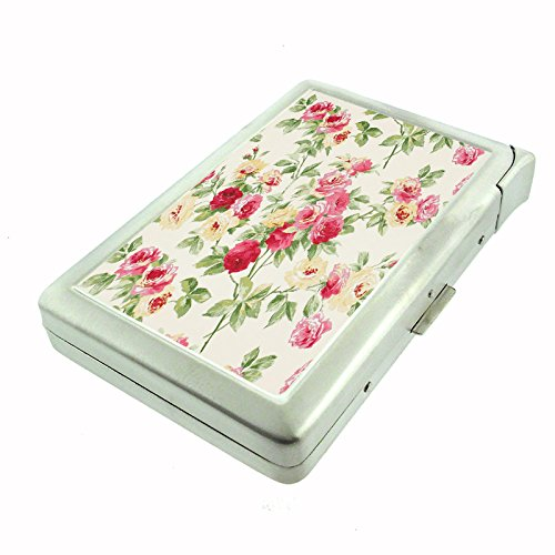 Perfection In Style Metal Cigarette Case with Built In Lighter Vintage Wallpaper Design - Lighter Cigarette Style