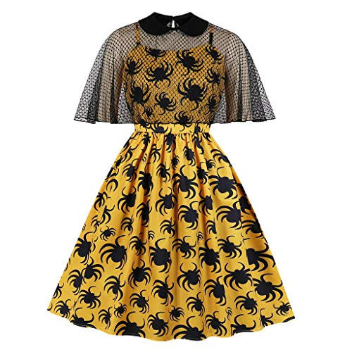 Spring Color  Womens Halloween Half Sleeve Stand Collar Casual Spider Printed Flared Party Midi Dress Yellow