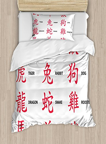 Astrology Duvet Cover Set by Ambesonne, Ancient Chinese Astrology Icons for Horoscope Person Elements Future Illustration, 2 Piece Bedding Set with 1 Pillow Sham, Twin / Twin XL Size, Red White