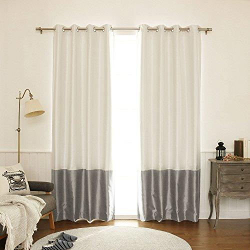 Nickel Black Silk - Best Home Fashion ColorBlock Faux Silk Blackout Curtain - Stainless Steel Nickel Grommet Top  - Dark Grey - 52
