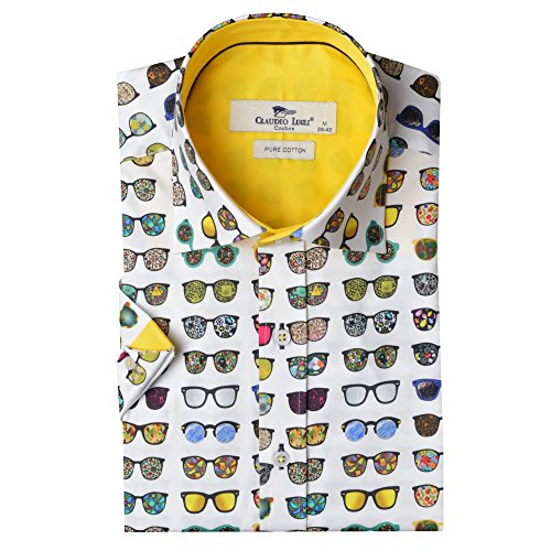 Claudio Lugli Men's Sunglasses Print Luxury Cotton Short Sleeve Summer Mens Shirt CP6251 Medium White, Yellow, Multi by Claudio Lugli