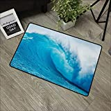 Restaurant mat W35 x L47 INCH Ocean,Wavy Ocean Adventurous Surfing Extreme Water Sports Summer Holiday Destination Print,Aqua White Easy to Clean, Easy to fold,Non-Slip Door Mat Carpet
