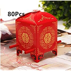 ASIBT 80 Pack Chinese Traditional Red Bridal Sedan Chair Style Wedding Bridal Shower Favor Candy Gift Boxes